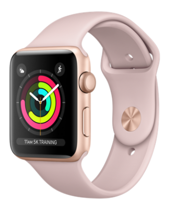 pink apple watch with activity screen