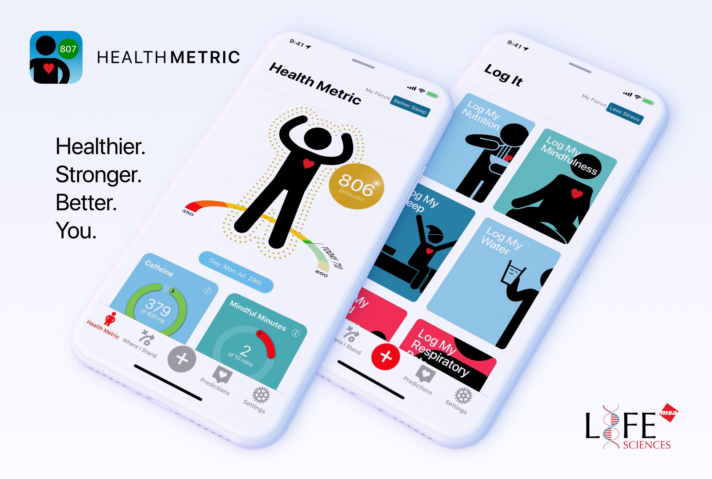 HealthMetric App Home Screen and Log It Screen